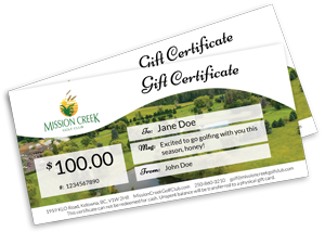 Mission Creek Golf: Gift Certificates